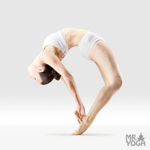 yoga pose standing upward facing intense ankle stretch bow