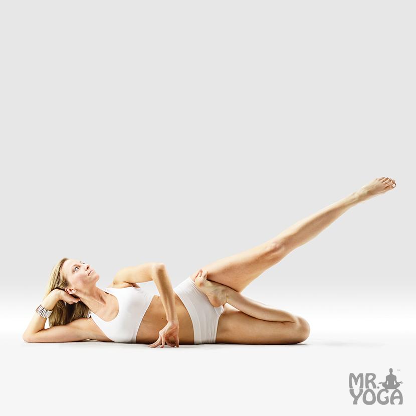 Yoga-Pose-Half-Lotus-Pose-in-Infinity-Pose-Ardha-Padmasana-in-Anantasana