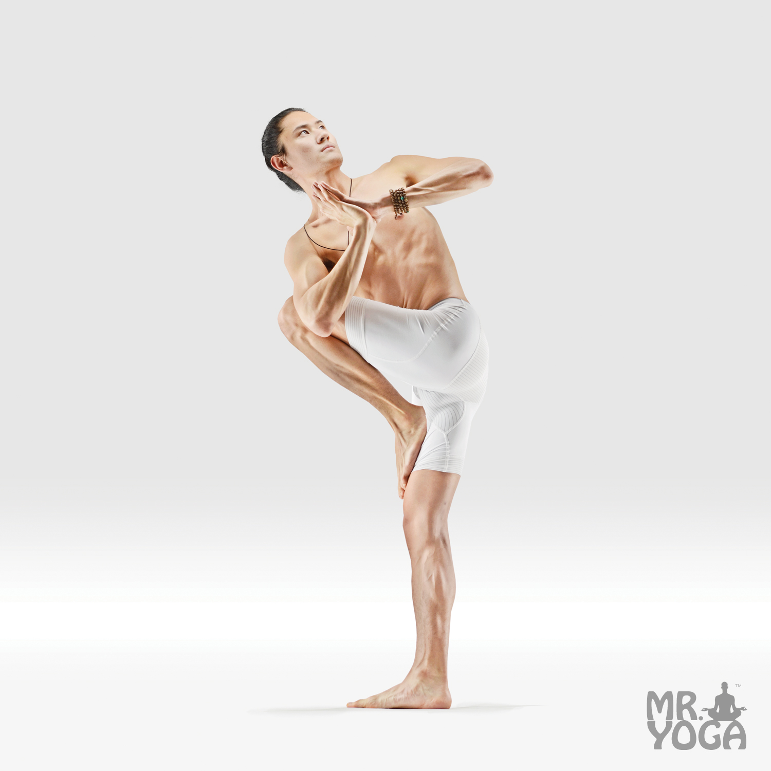 Revolved Prayer Standing Rising Wind Relieving Pose • Mr. Yoga